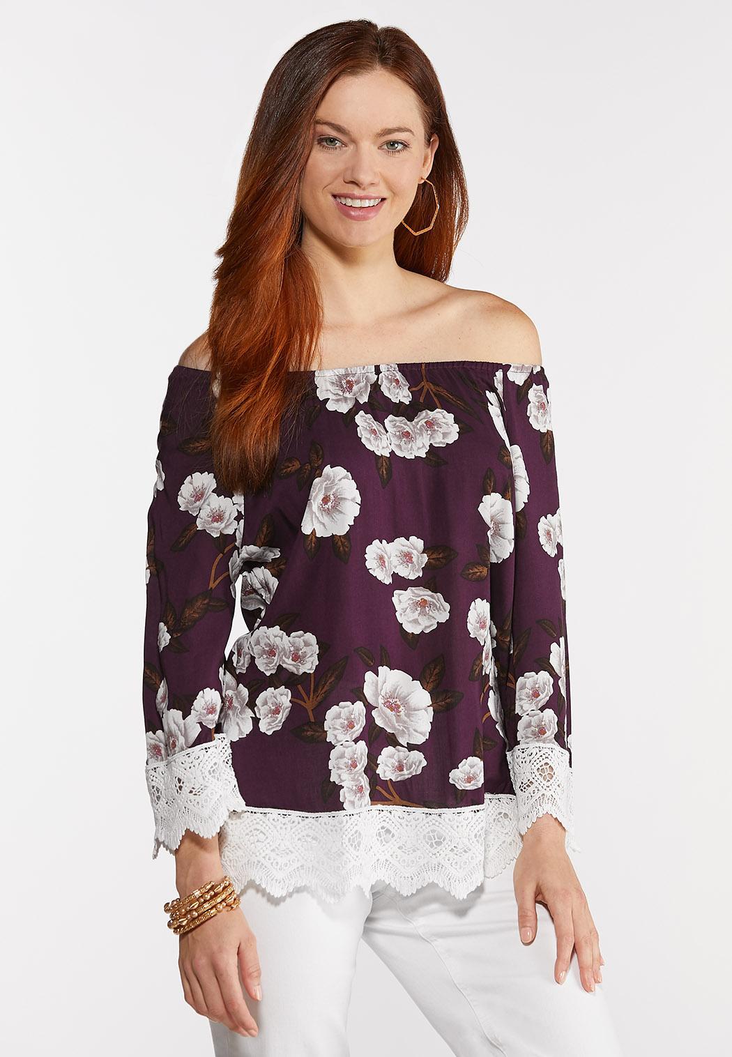 Lace Trim Floral Top (Item #44302684)