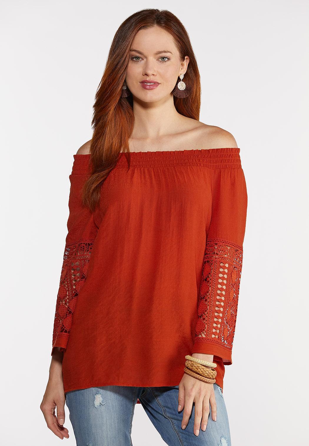 Smocked Crochet Sleeve Top (Item #44302851)