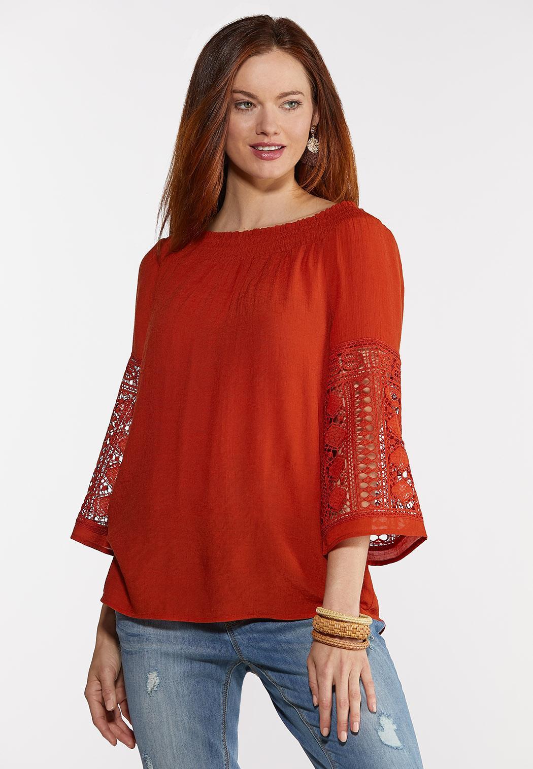 Plus Size Smocked Crochet Sleeve Top (Item #44302907)