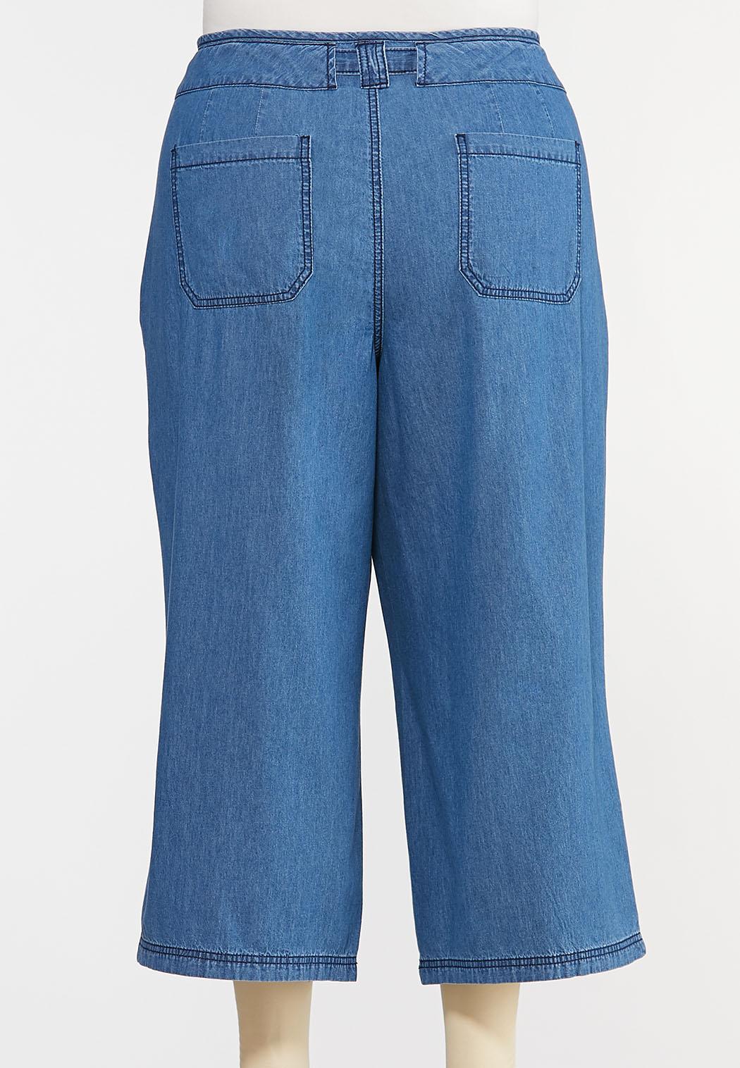 Plus Size Cropped Denim Pants (Item #44303919)