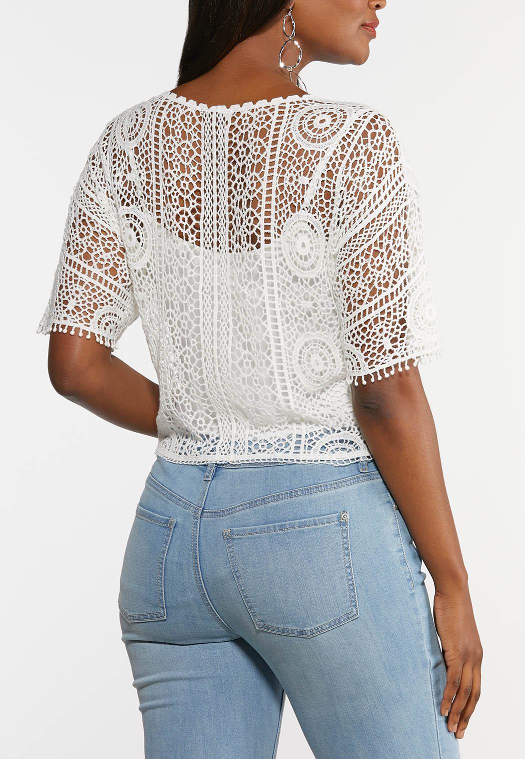 Plus Size Lacy Tie Front Top (Item #44303950)