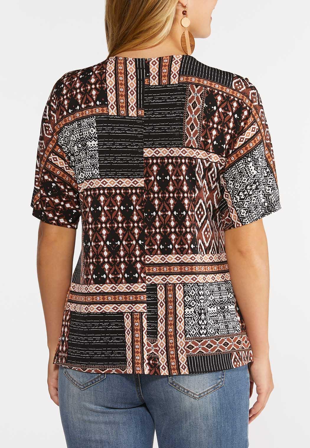 Plus Size Tribal Patchwork Top (Item #44306723)