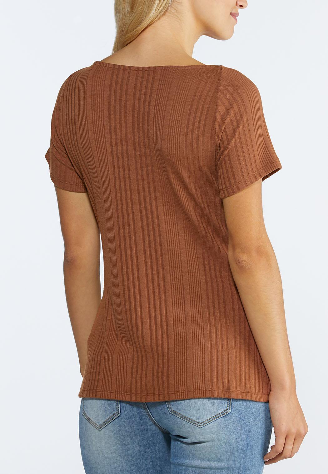 Plus Size Ribbed Scoop Neck Top (Item #44308935)