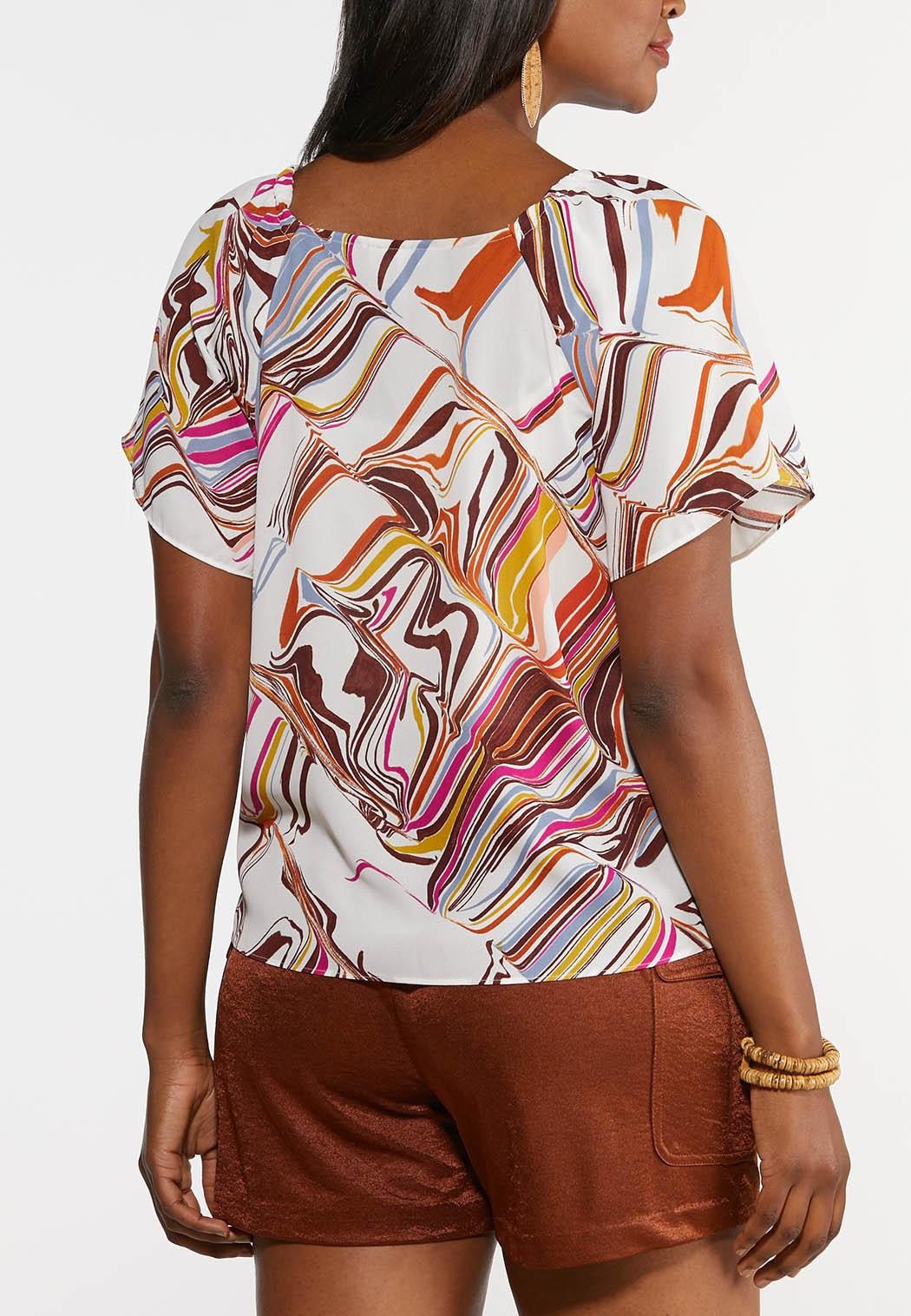 Color Swirl Button Front Top (Item #44309173)