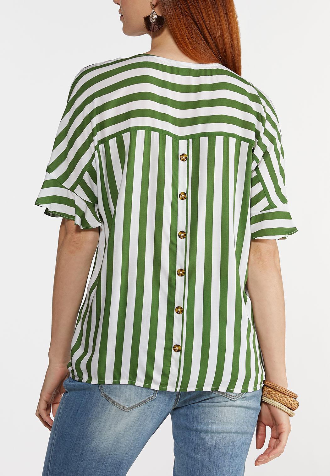 Plus Size Striped Button Back Top (Item #44309335)