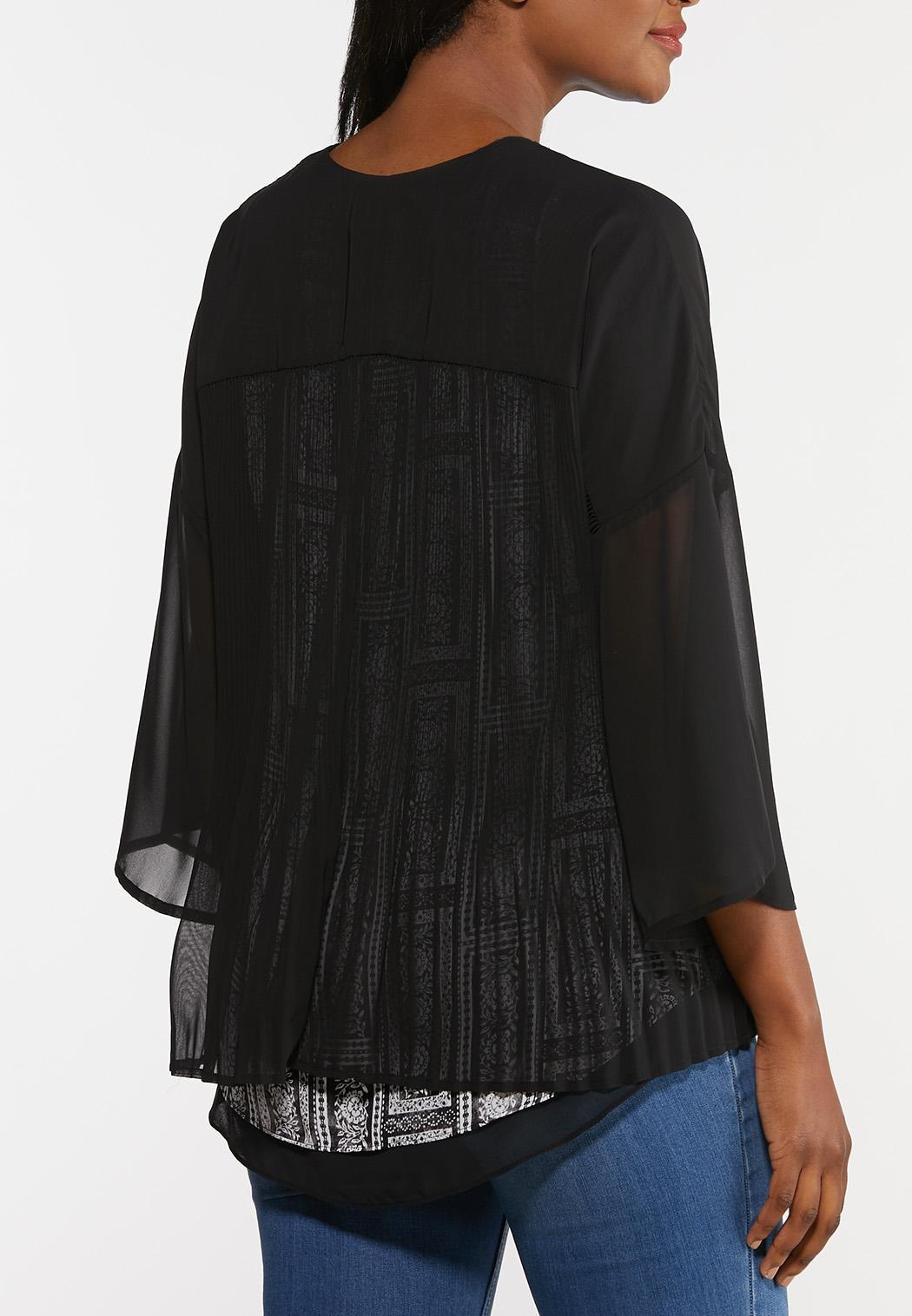 Sheer Pleated Back Kimono (Item #44309552)