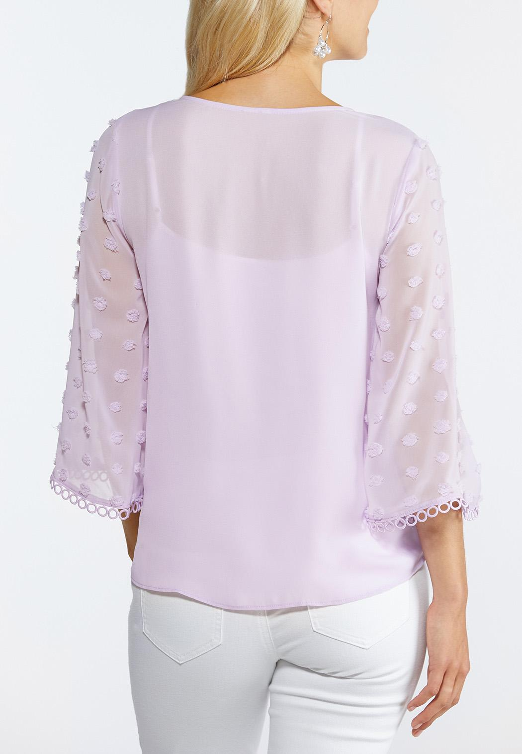 Lilac Dotted Sleeve Top (Item #44309698)