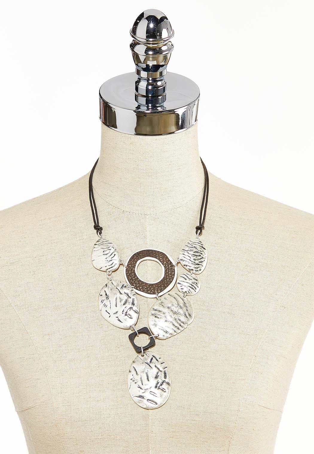Etched Worn Silver Cord Necklace (Item #44310476)