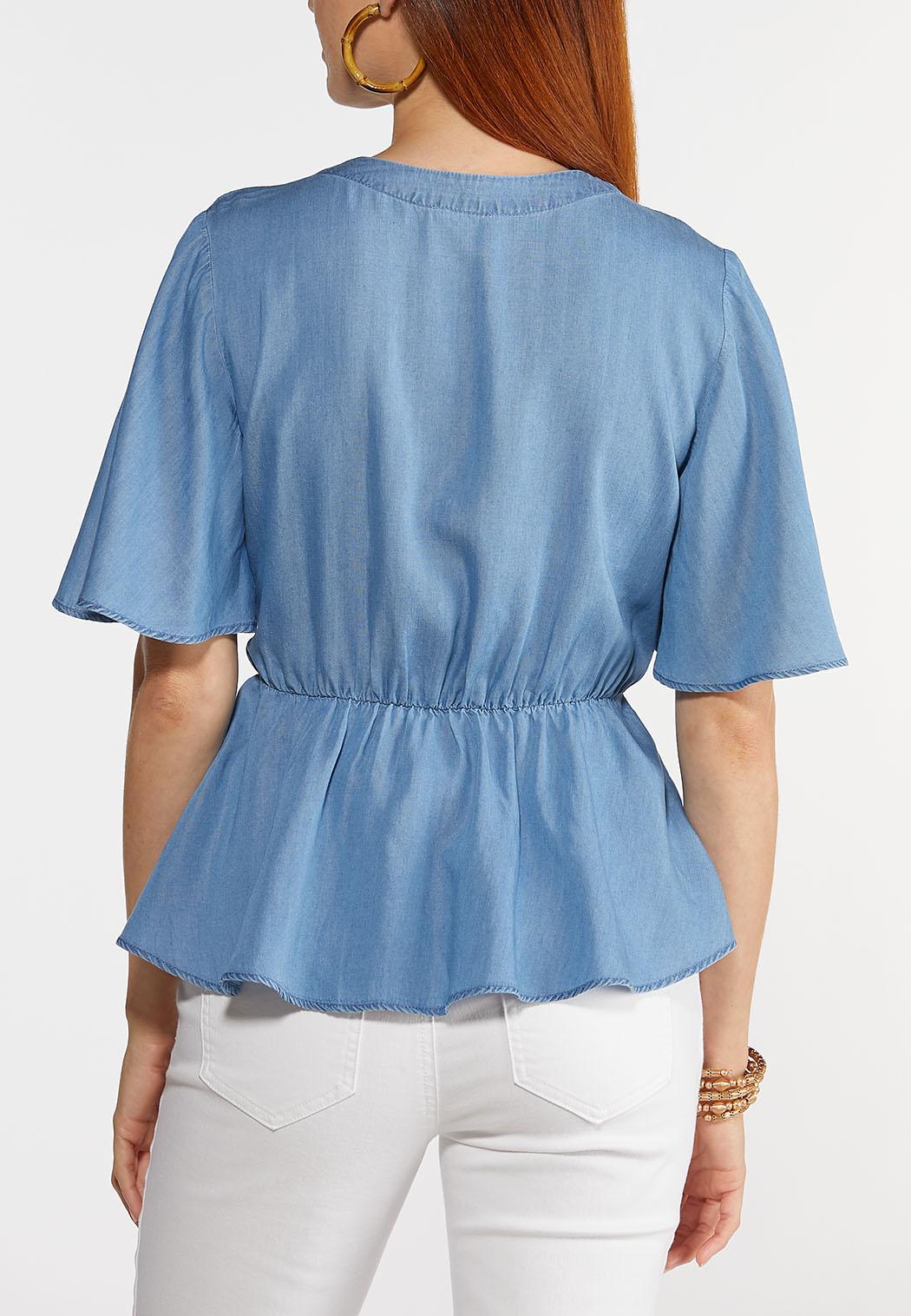 Plus Size Chambray Wrap Top (Item #44310599)