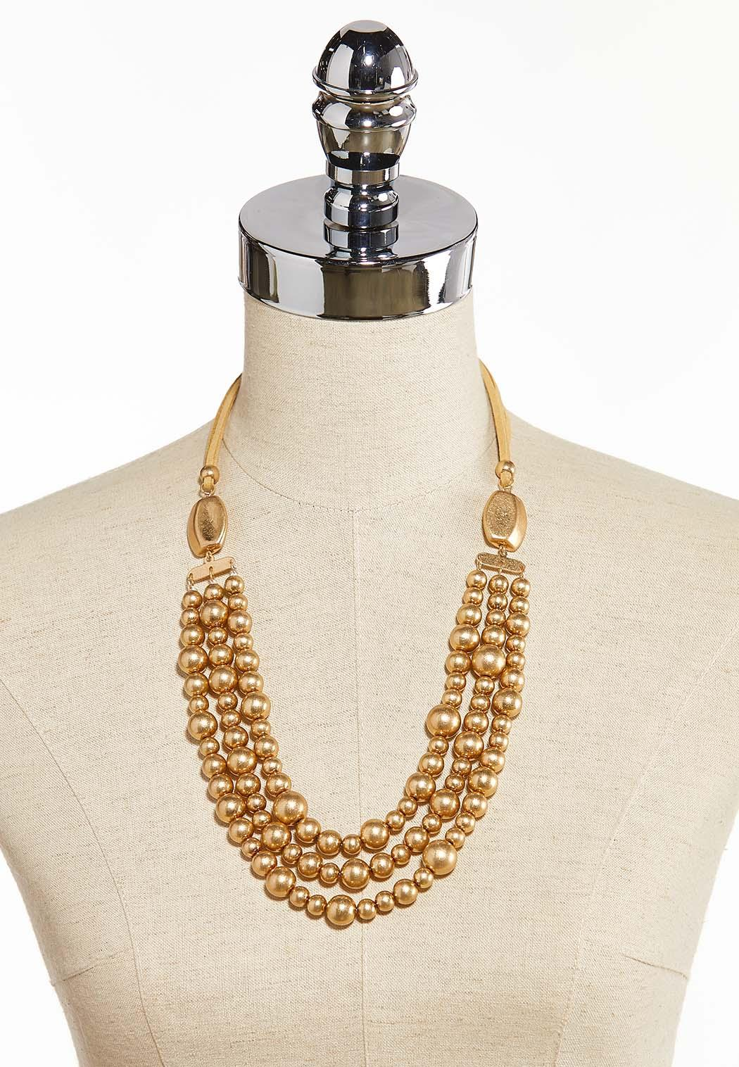 Worn Gold Triple Strand Cord Necklace (Item #44310601)