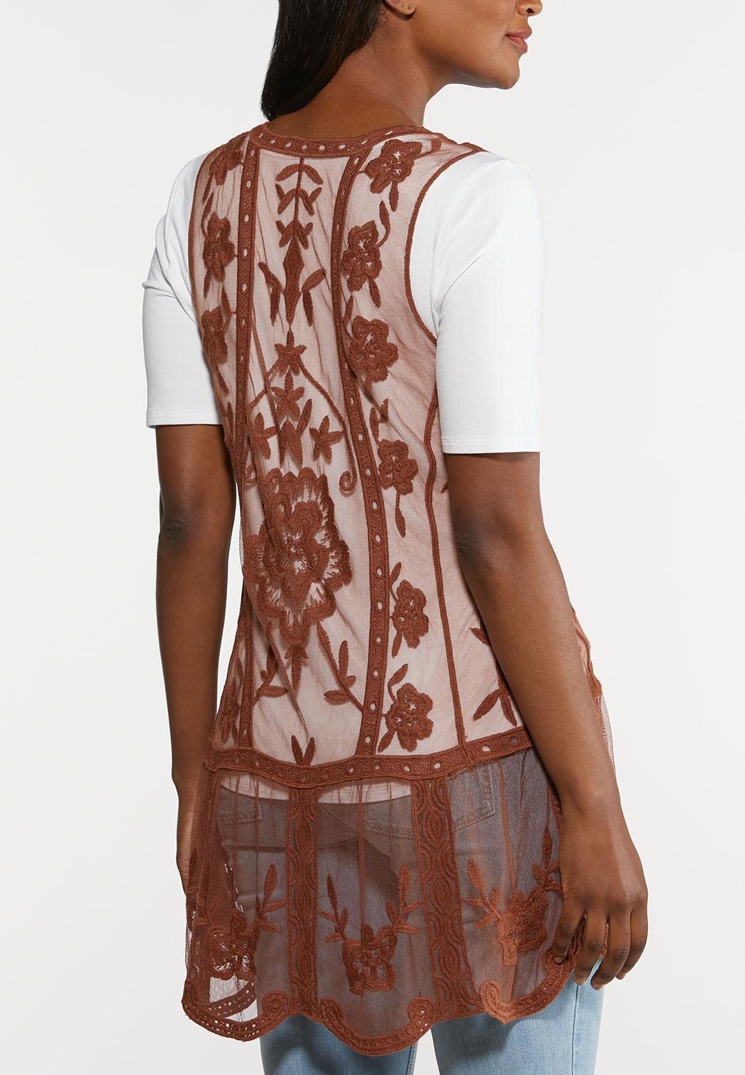 Plus Size Mesh Embroidered Vest (Item #44310976)