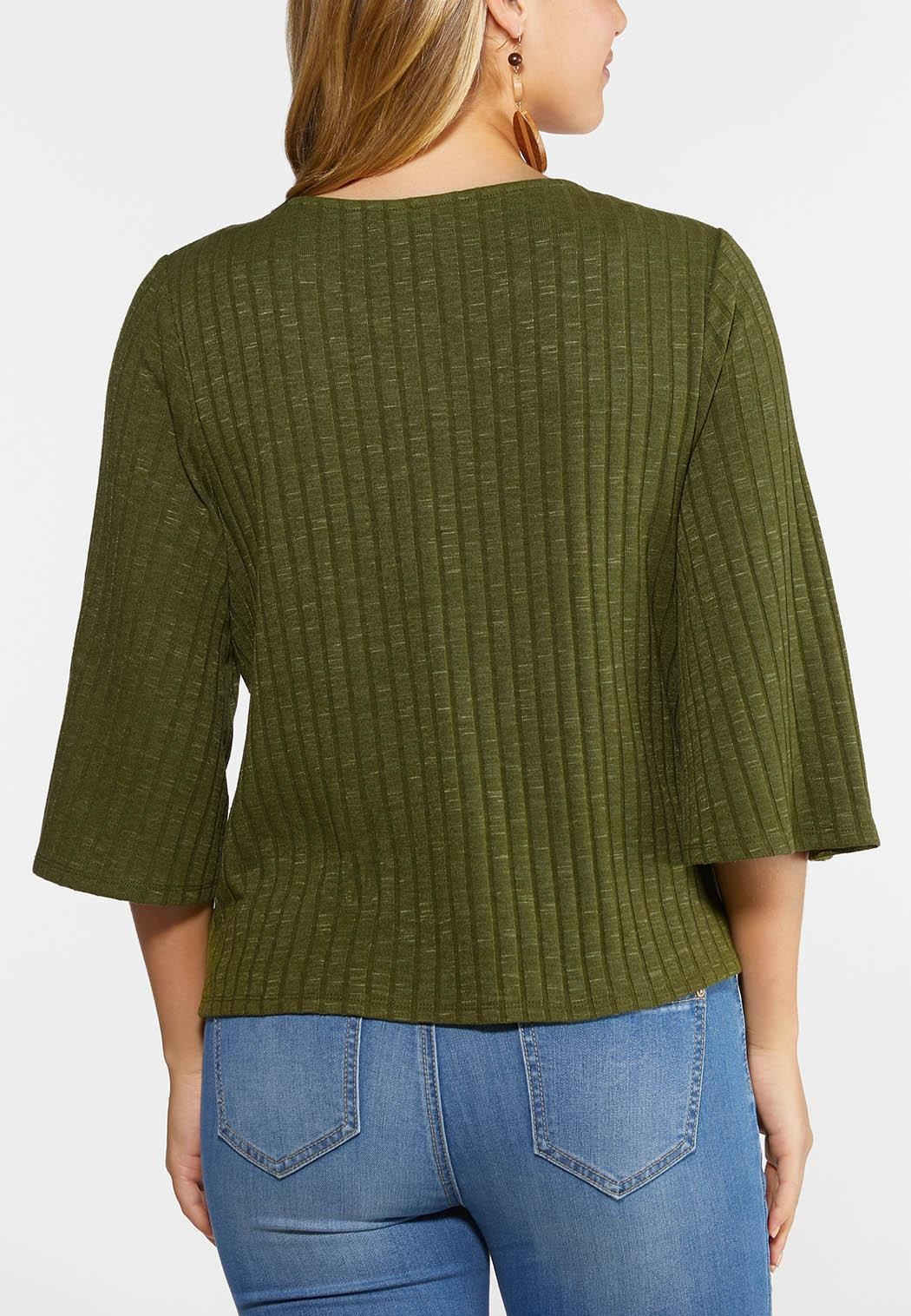 Plus Size Green Ribbed Bell Sleeve Top (Item #44311746)