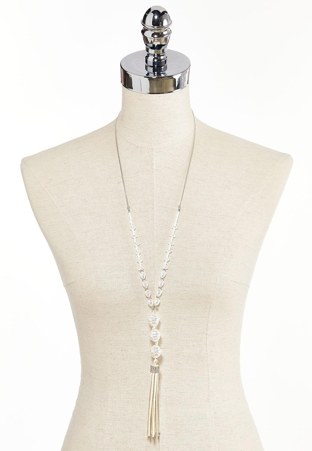 Ivory Faux Suede Tassel Necklace (Item #44311898)