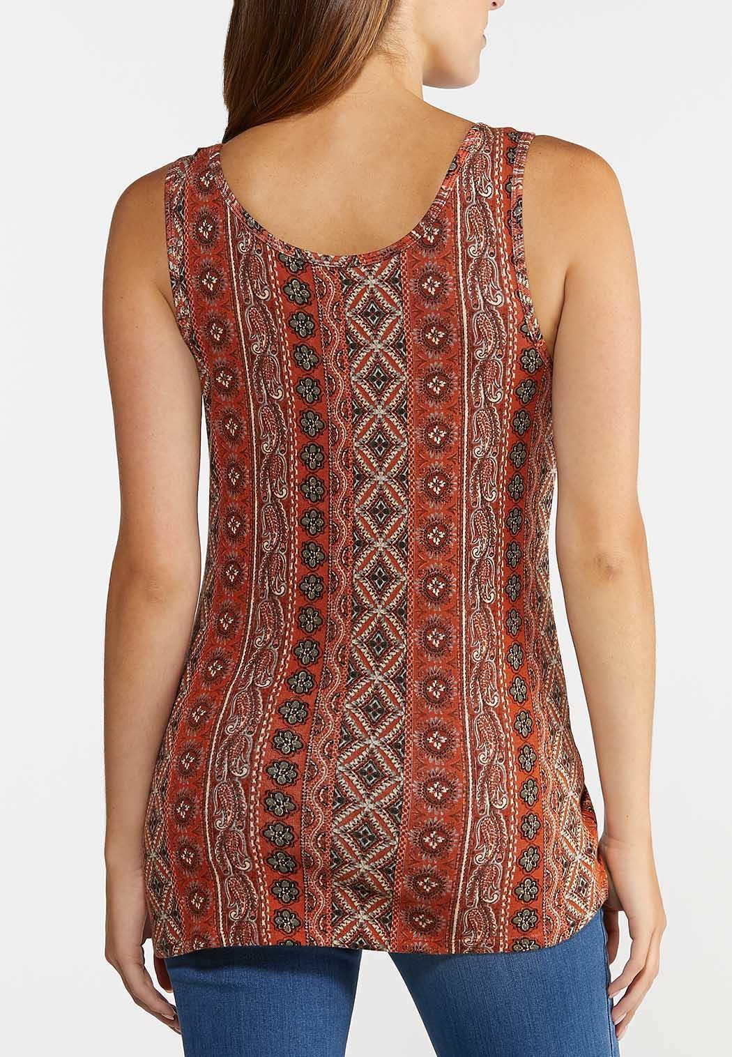 Plus Size Knit Paisley Tank (Item #44312300)