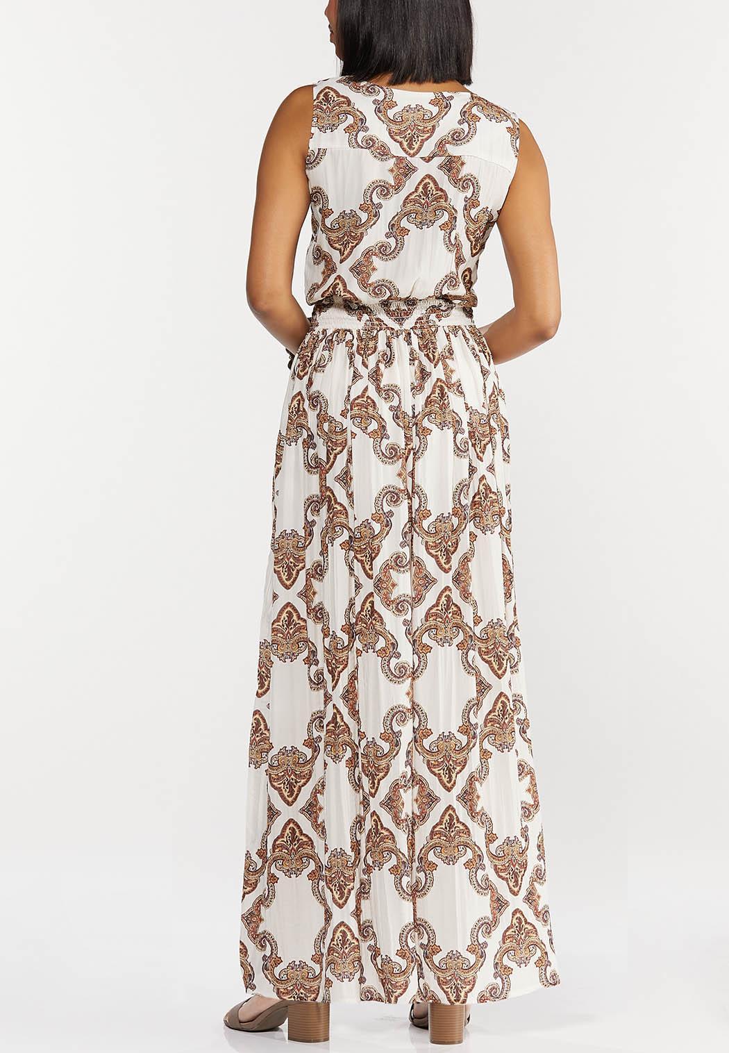 Plus Size Smocked Paisley Maxi Dress (Item #44312779)
