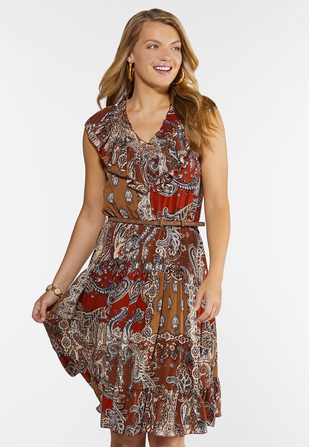 Belted Paisley Dress (Item #44312945)