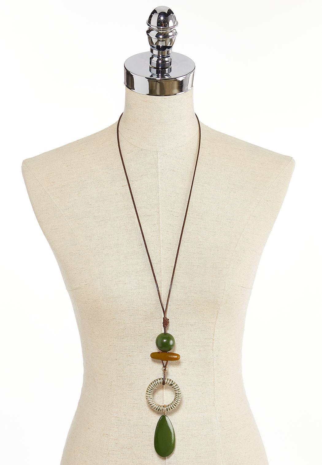 Citrus Mixed Bead Cord Necklace (Item #44313625)