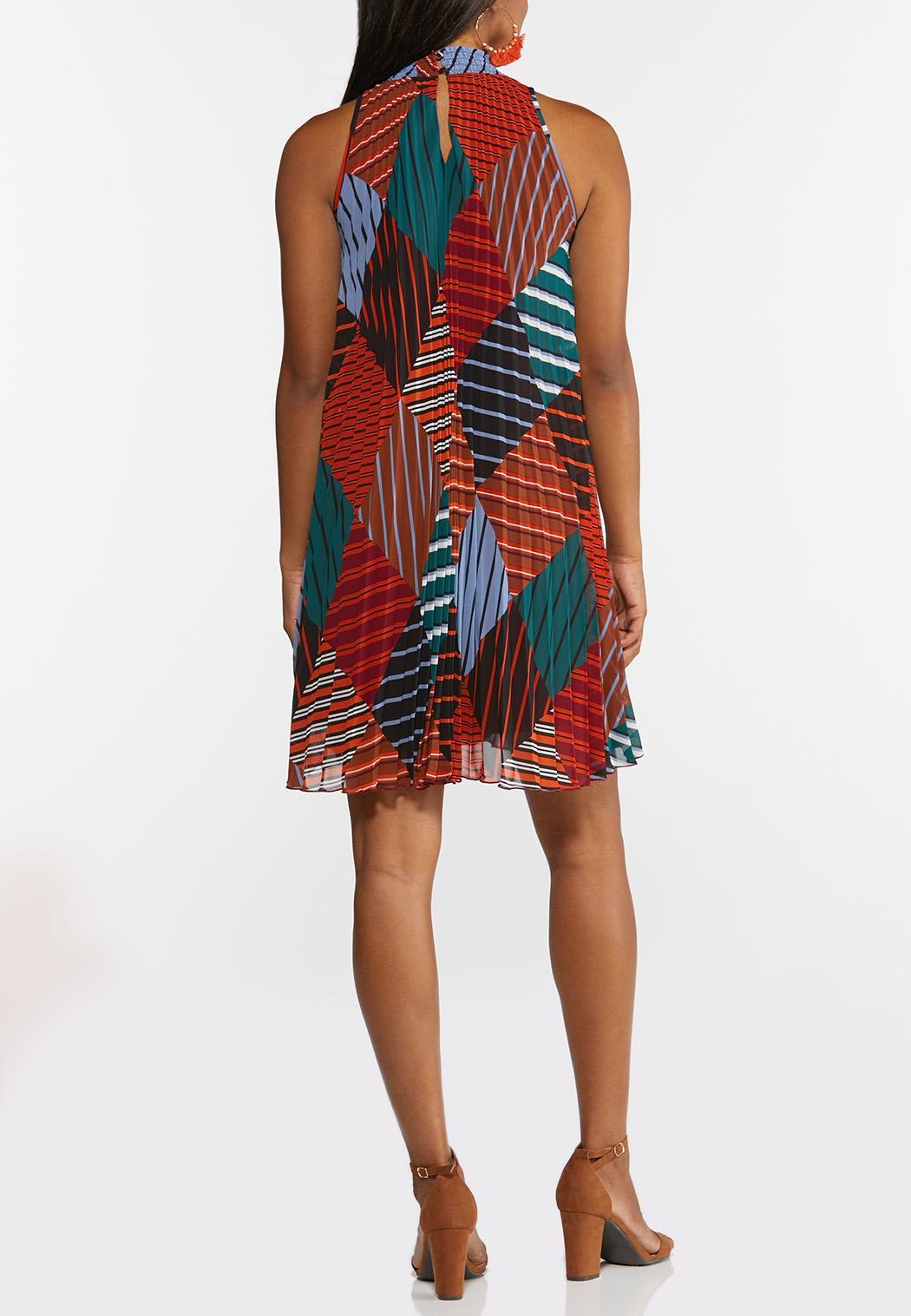 Plus Size Pleated Diamond Stripe Swing Dress (Item #44313891)
