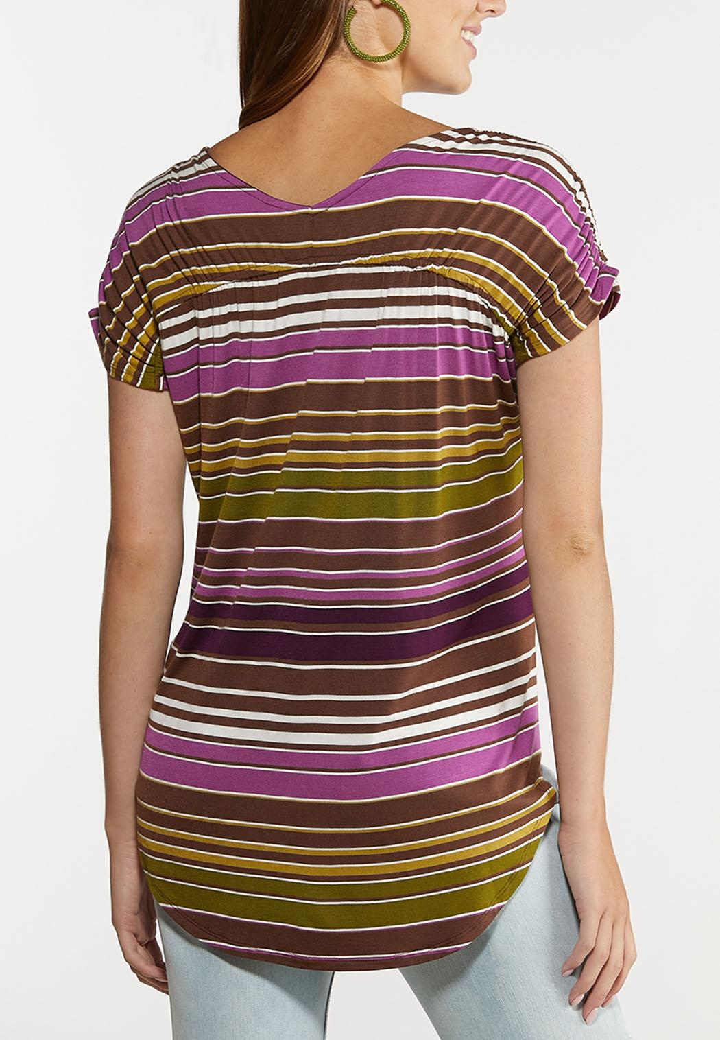 Striped Ruched Sleeve Top (Item #44313921)