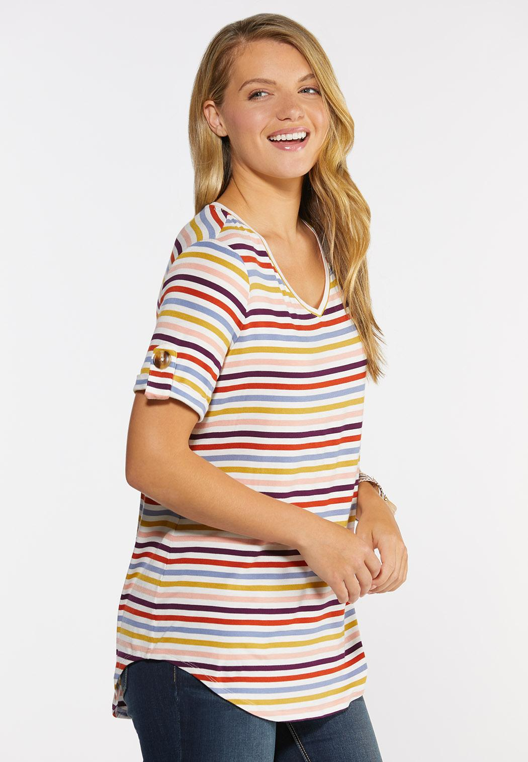 Plus Size Stripe Button Sleeve Tee (Item #44313966)