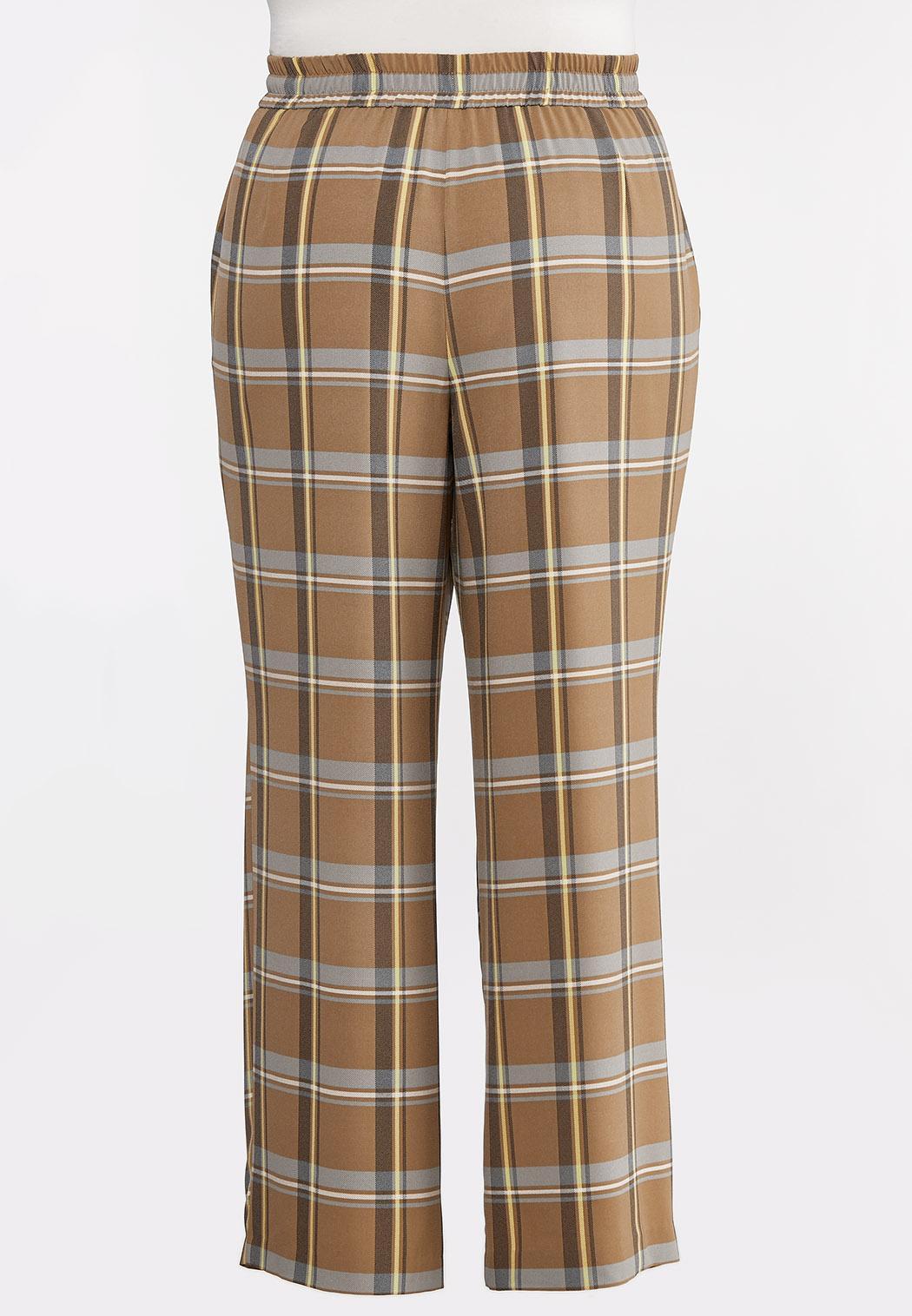 Plus Size Plaid Wide Leg Pants (Item #44313974)