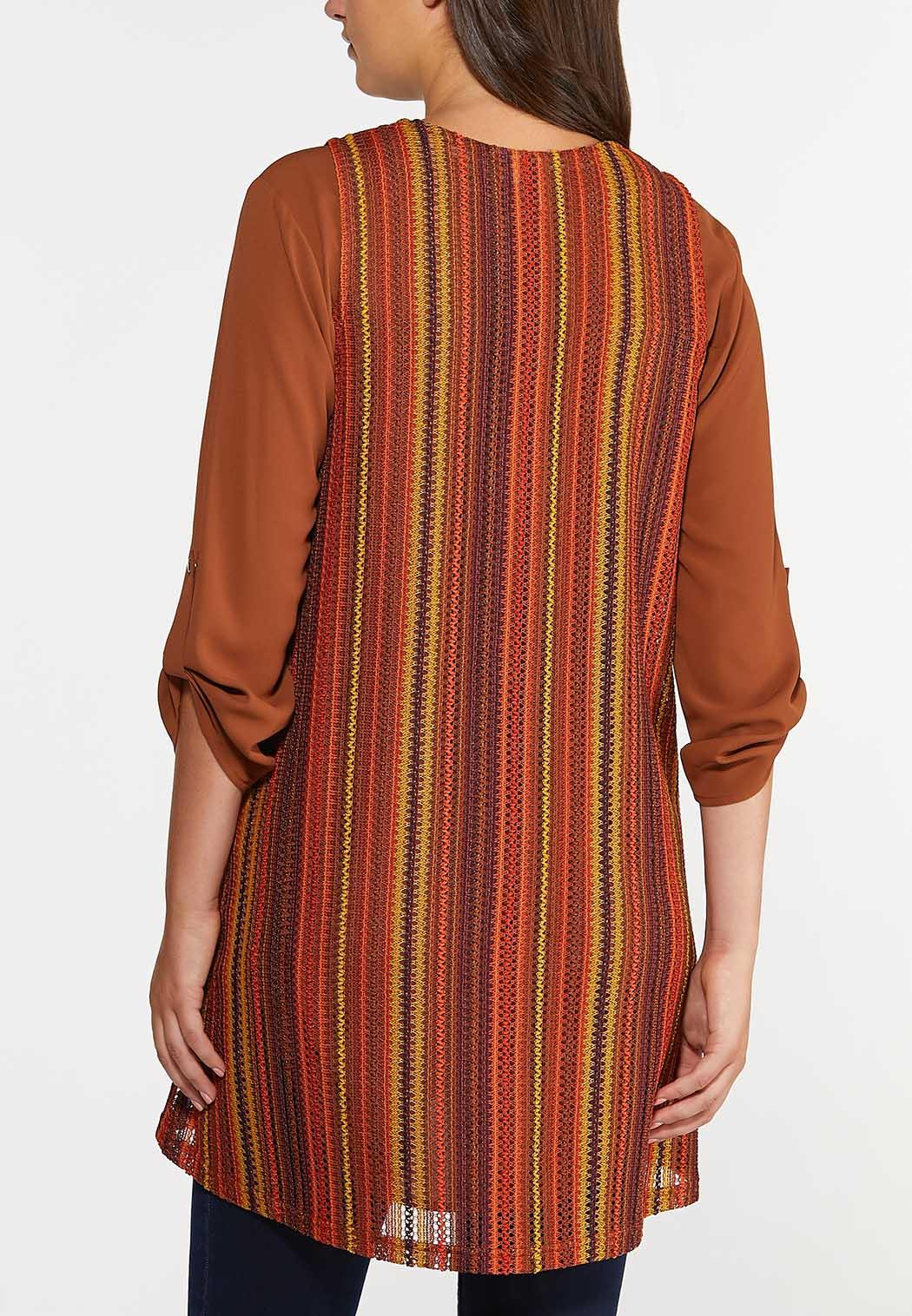 Plus Size Multi Stripe Draped Vest (Item #44314607)