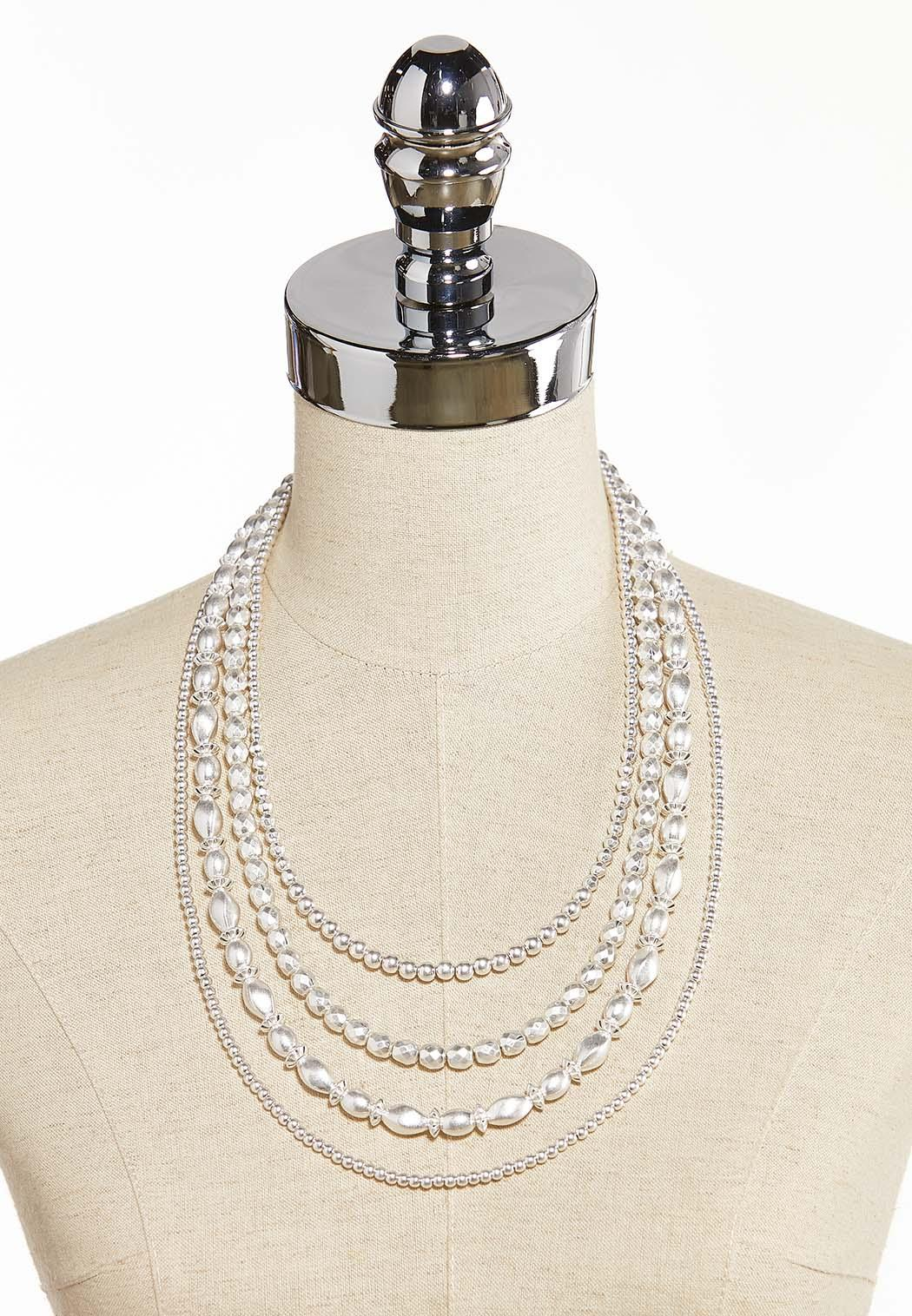 Layered Silver Bead Necklace (Item #44314702)