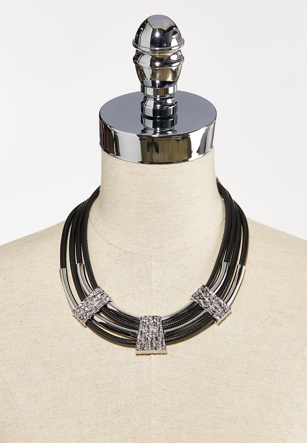 Silver Bar Cord Necklace (Item #44314705)