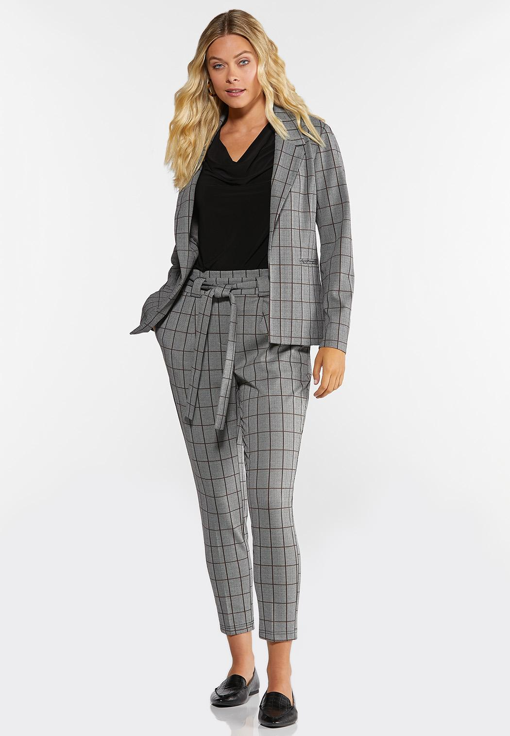 Petite Plaid Paperbag Trousers (Item #44314852)
