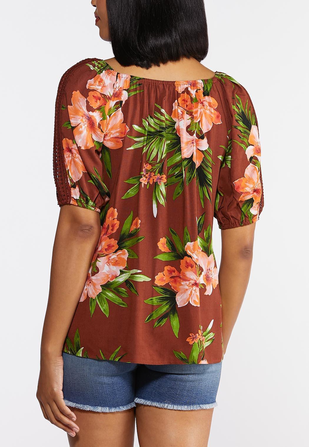 Plus Size Tropical Crochet Top (Item #44314967)