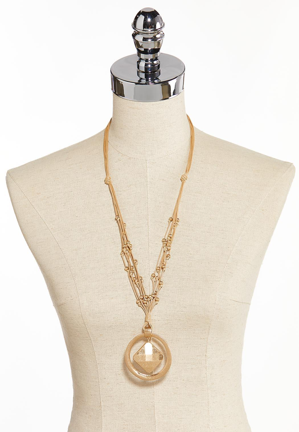 Metal Pendant Knotted Cord Necklace (Item #44315258)