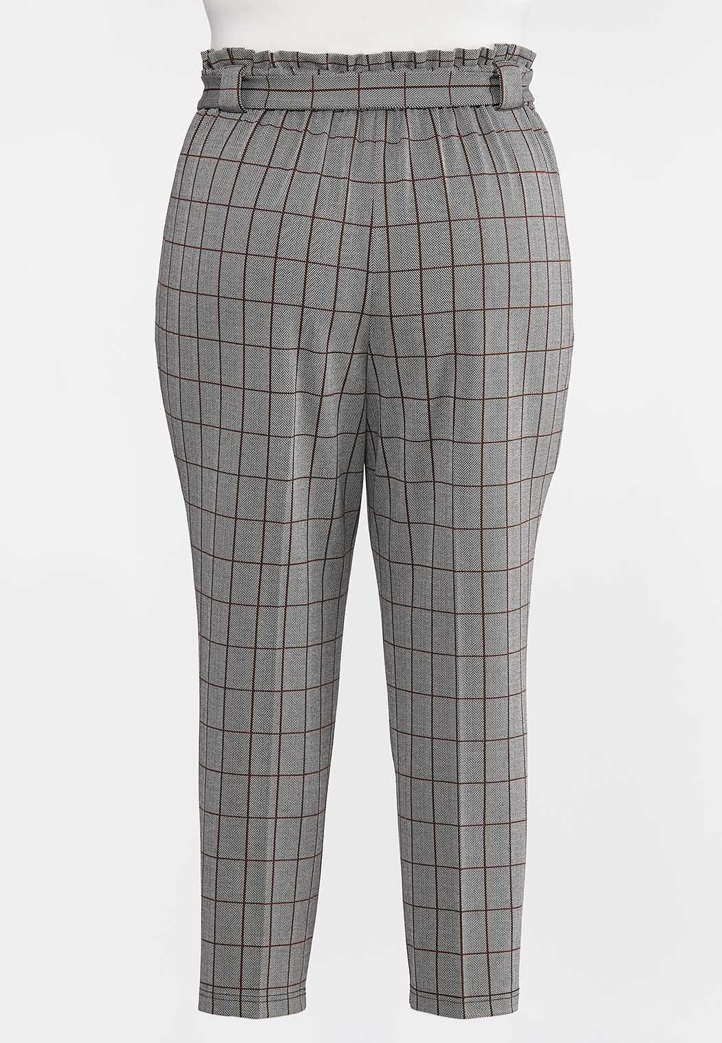 Plus Size Plaid Paperbag Trousers (Item #44315400)