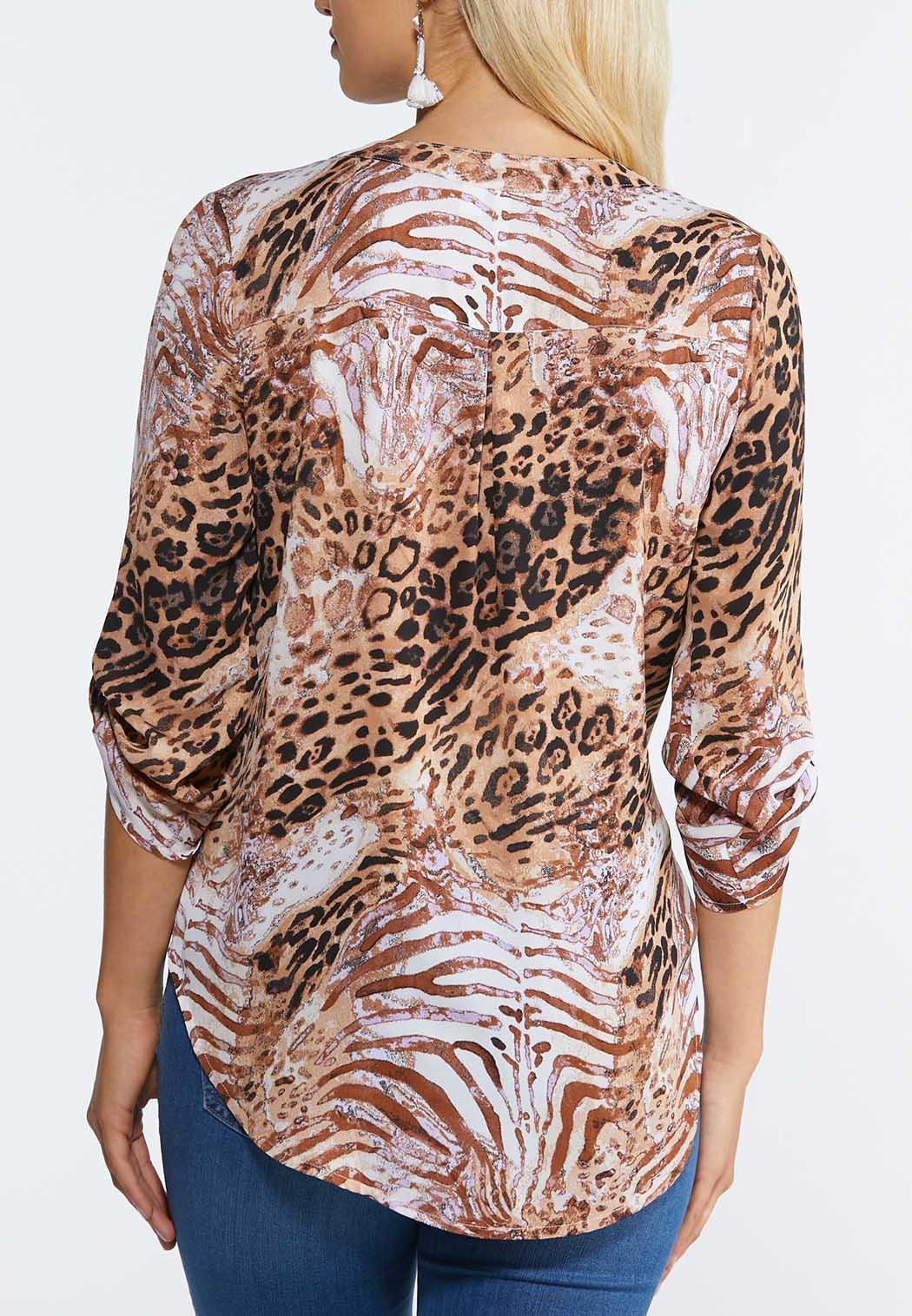 Plus Size Lilac Animal Print Top (Item #44316231)