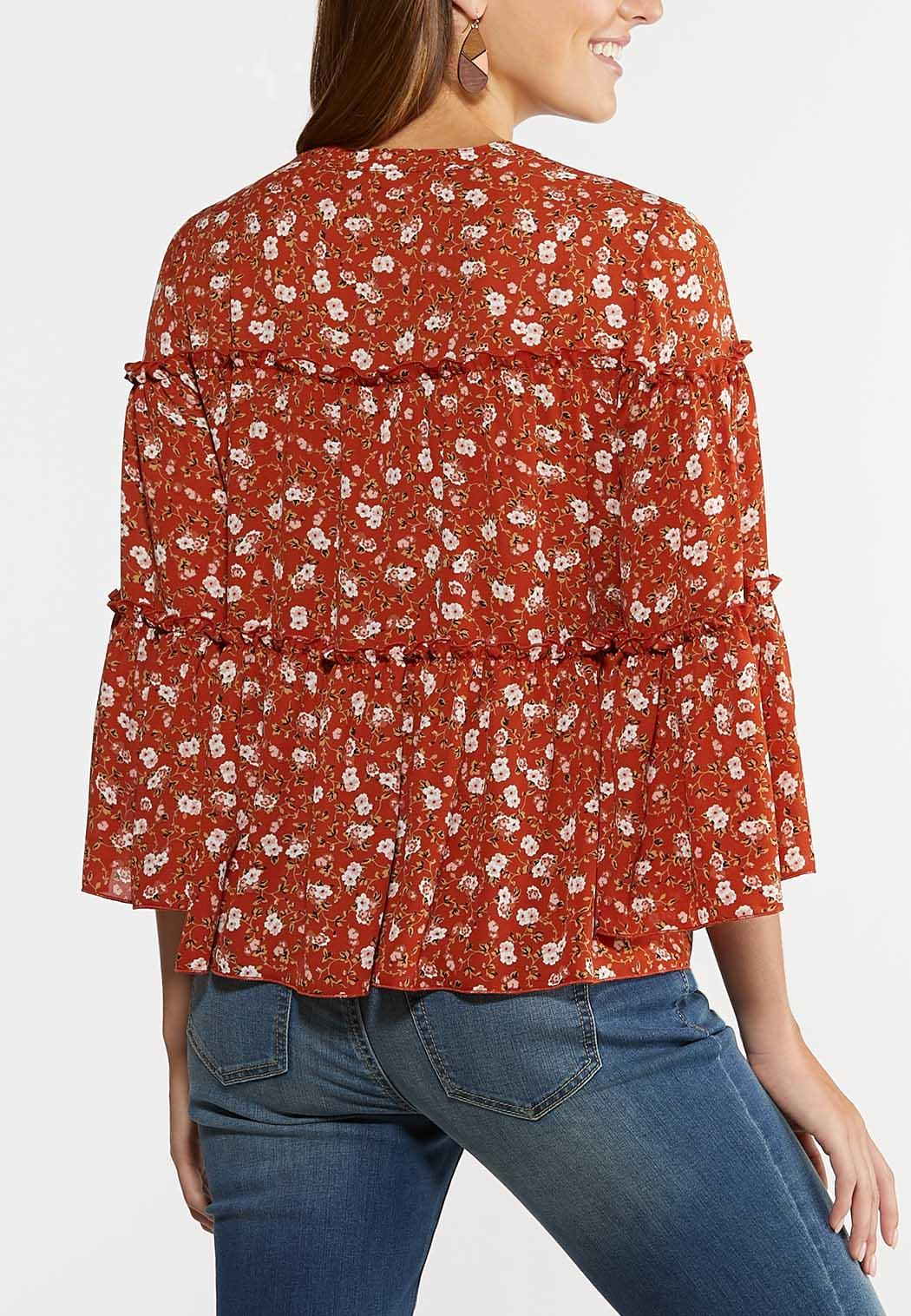 Plus Size Ruffled Rust Floral Poet Top (Item #44316317)