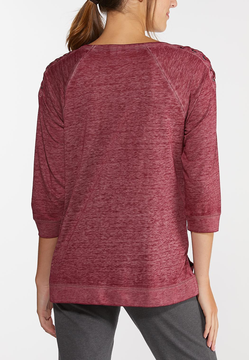 Lace Up Wine Athleisure Top (Item #44316985)