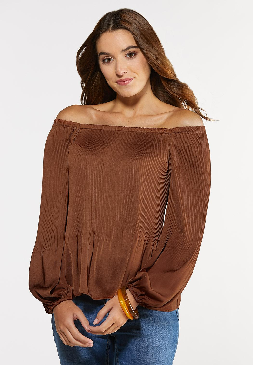 Plus Size Pleated Square Neck Top (Item #44316992)