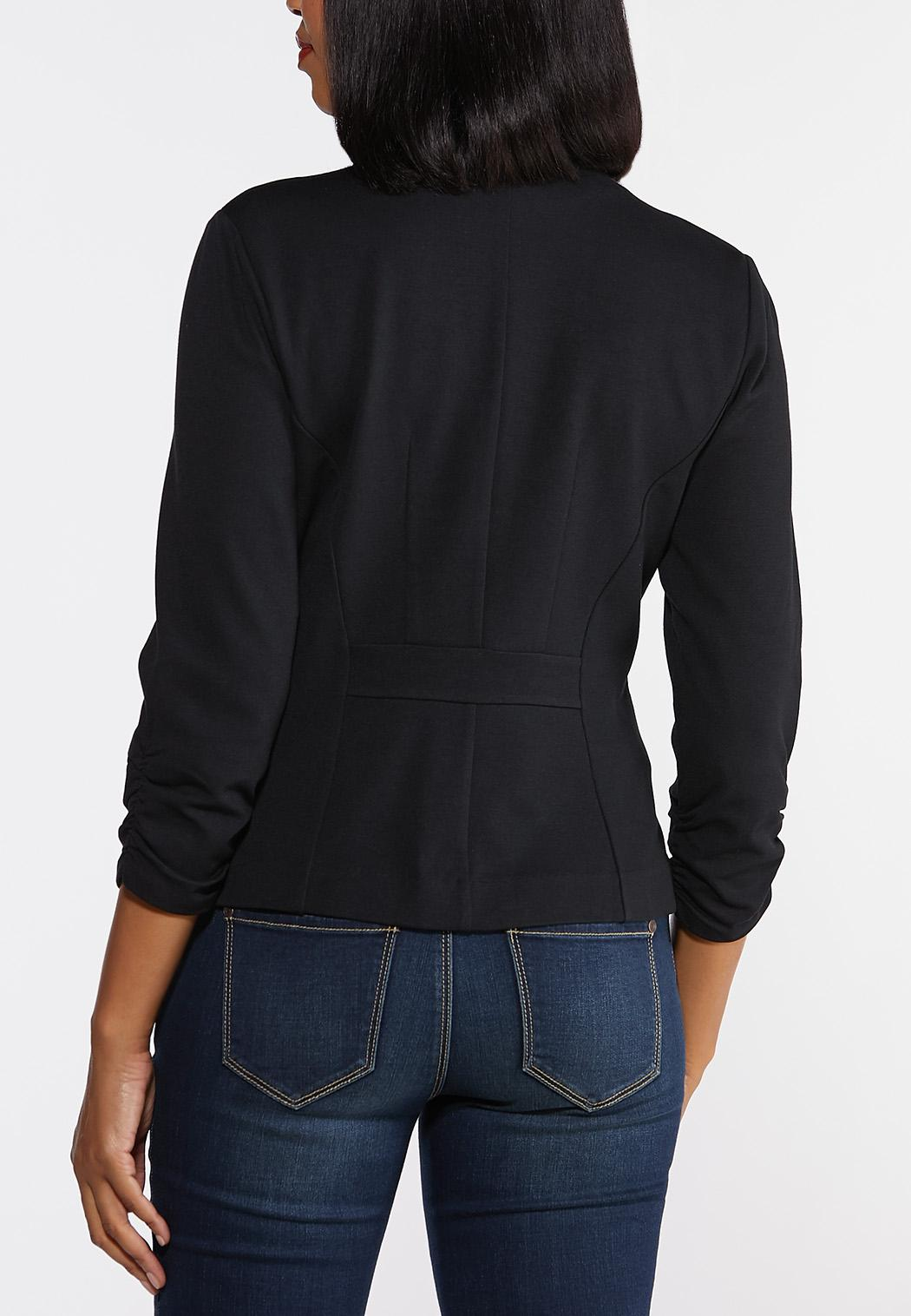 Ruched Sleeve Ponte Knit Blazer (Item #44317589)
