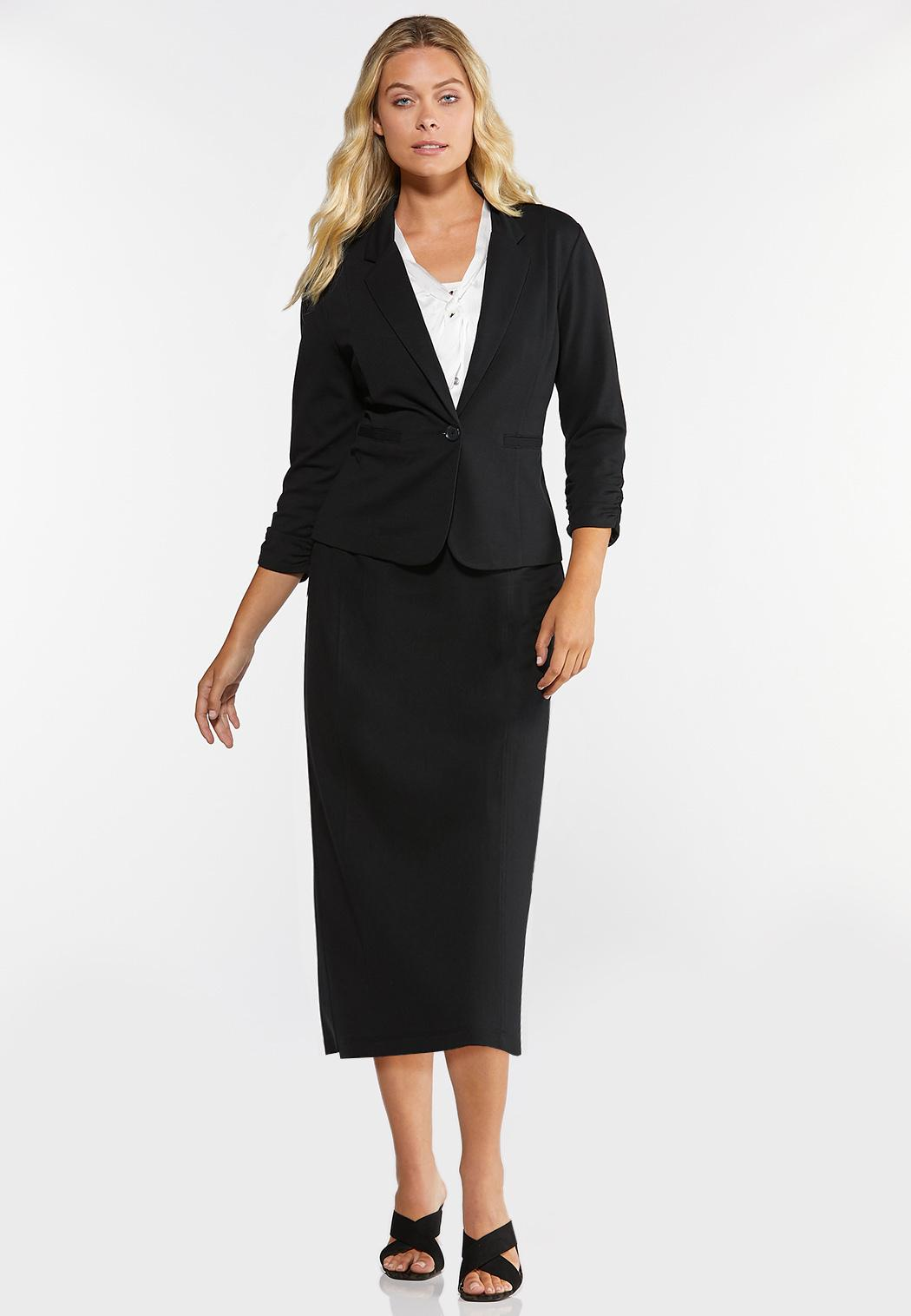 Plus Size Ruched Sleeve Knit Blazer (Item #44317660)