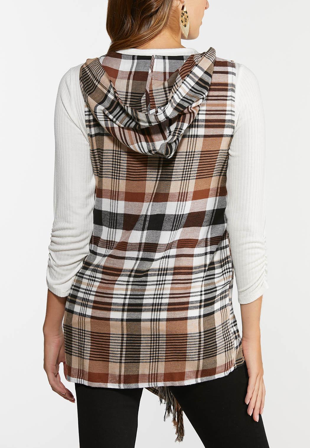 Plus Size Hazelnut Plaid Hooded Vest (Item #44317961)