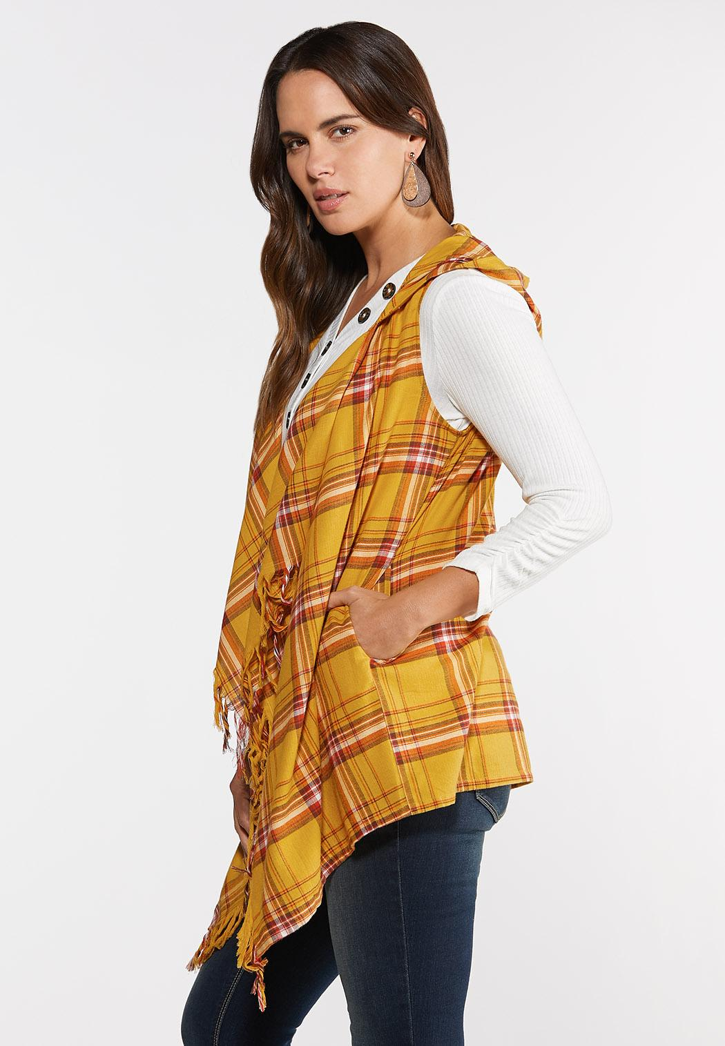 Plus Size Plaid Tasseled Vest (Item #44318164)