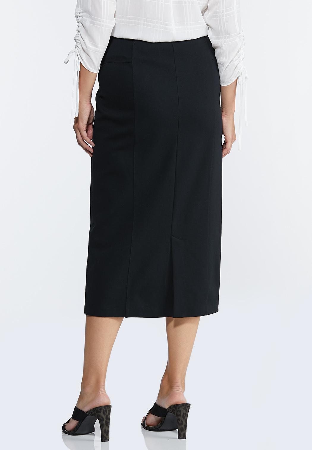 Plus Size Ponte Pull-On Midi Skirt (Item #44318493)