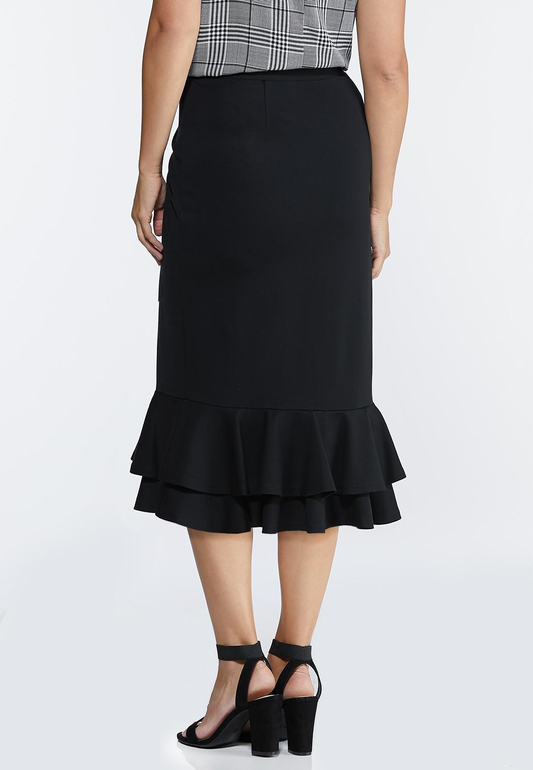 Plus Size Double Ruffle Ponte Skirt (Item #44318590)