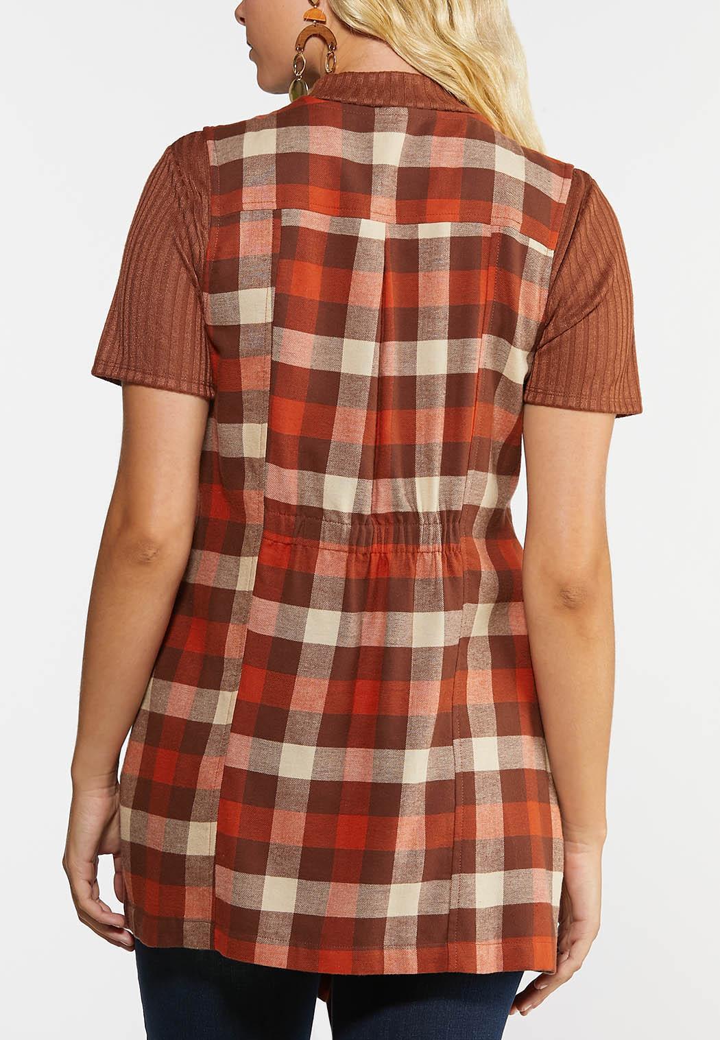 Plus Size Orange Plaid Vest (Item #44318693)