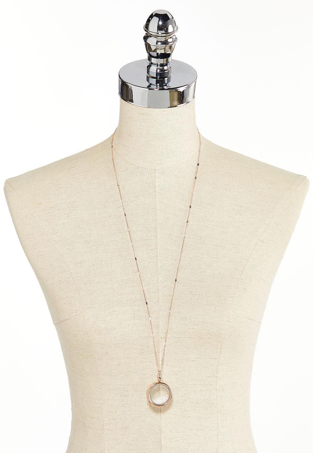 Rose Gold Locket Pendant Necklace (Item #44318839)