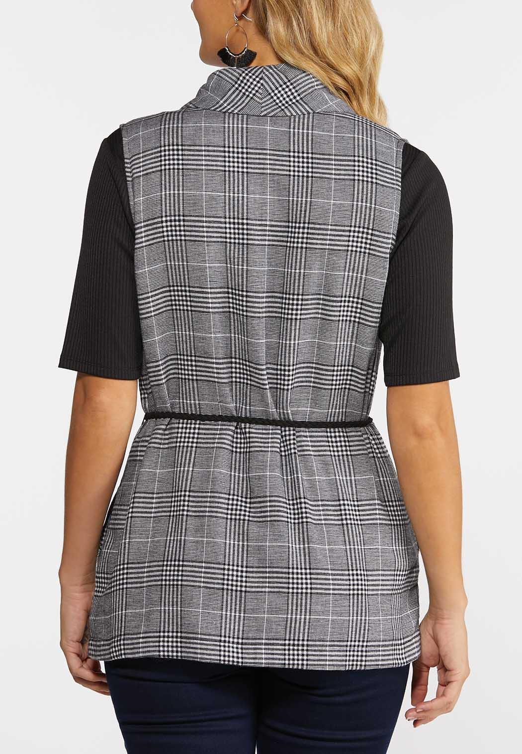 Plus Size Black And White Plaid Vest (Item #44318968)