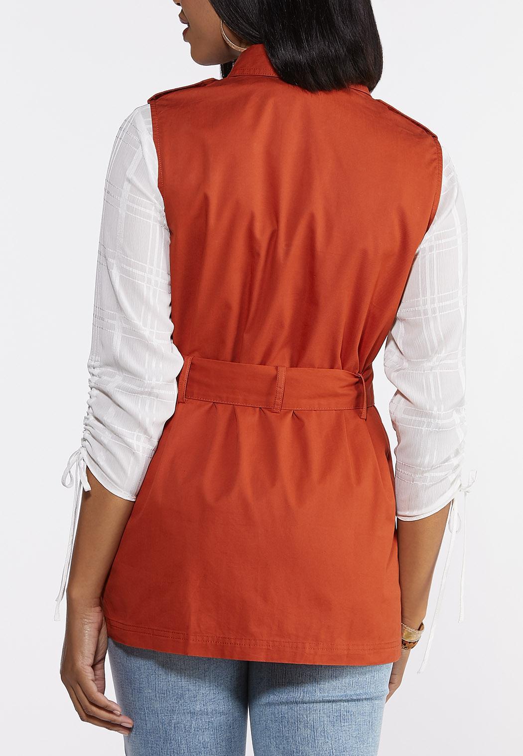 Plus Size Solid Utility Vest (Item #44319232)