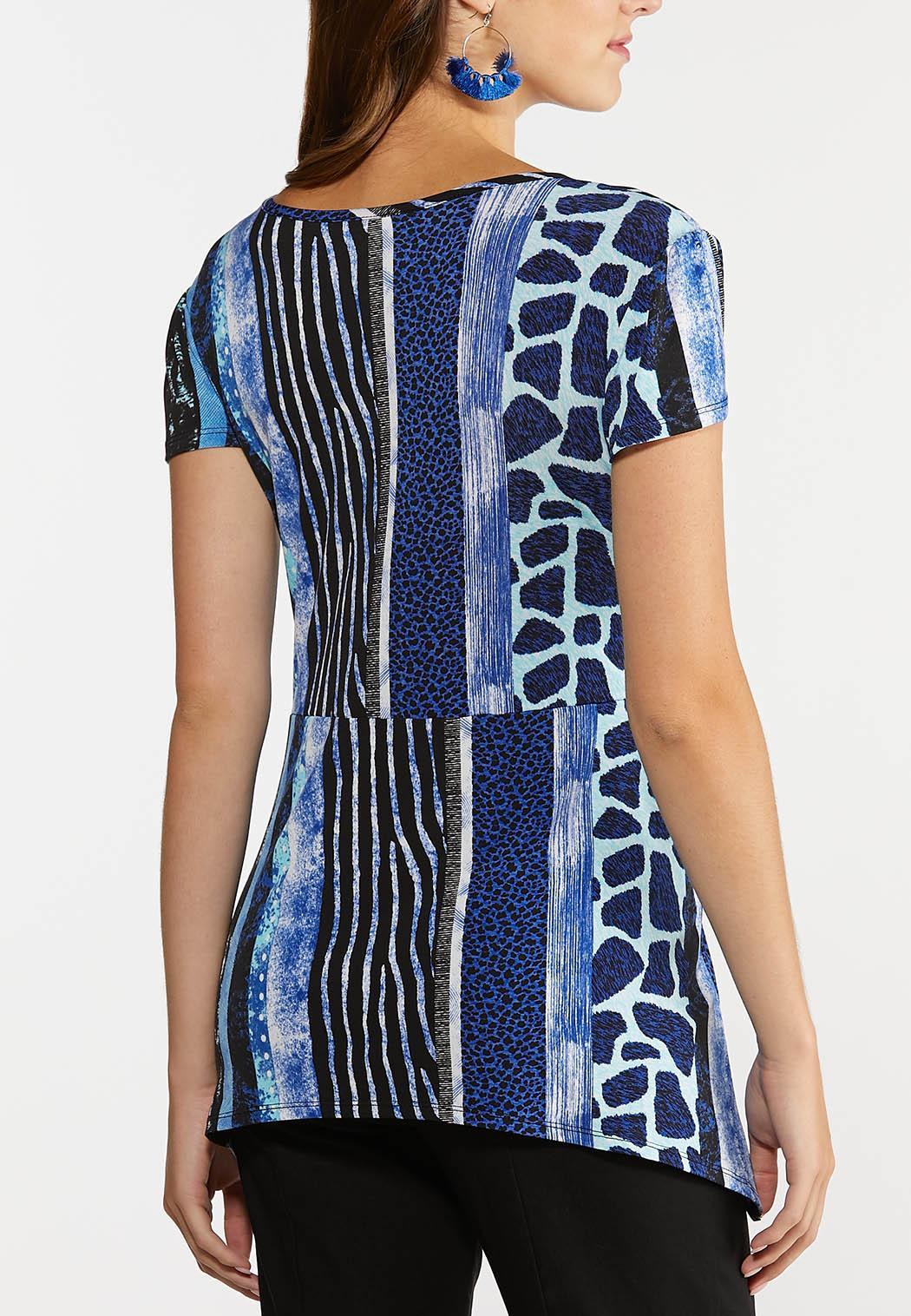 Plus Size Animal Stripe Tie Front Top (Item #44319920)