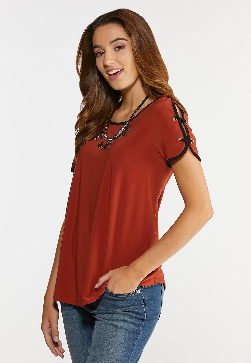 Plus Size Rust Grommet Sleeve Top (Item #44320260)