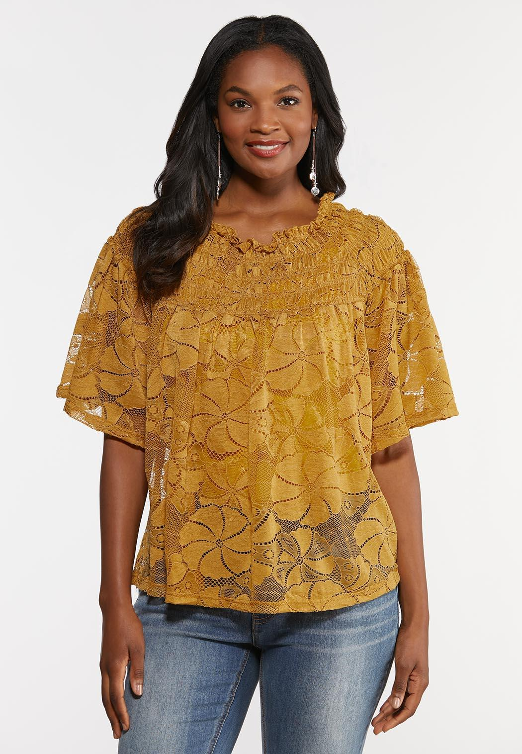 Smocked Lace Top (Item #44320337)