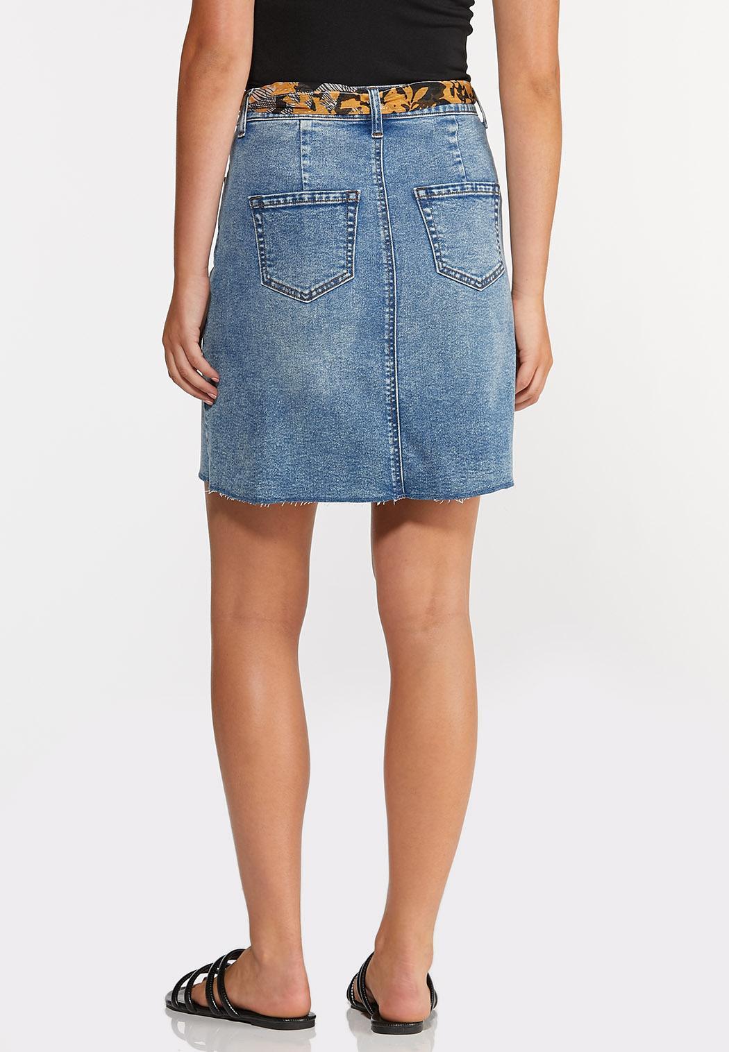 Frayed Hem Denim Skirt (Item #44324949)